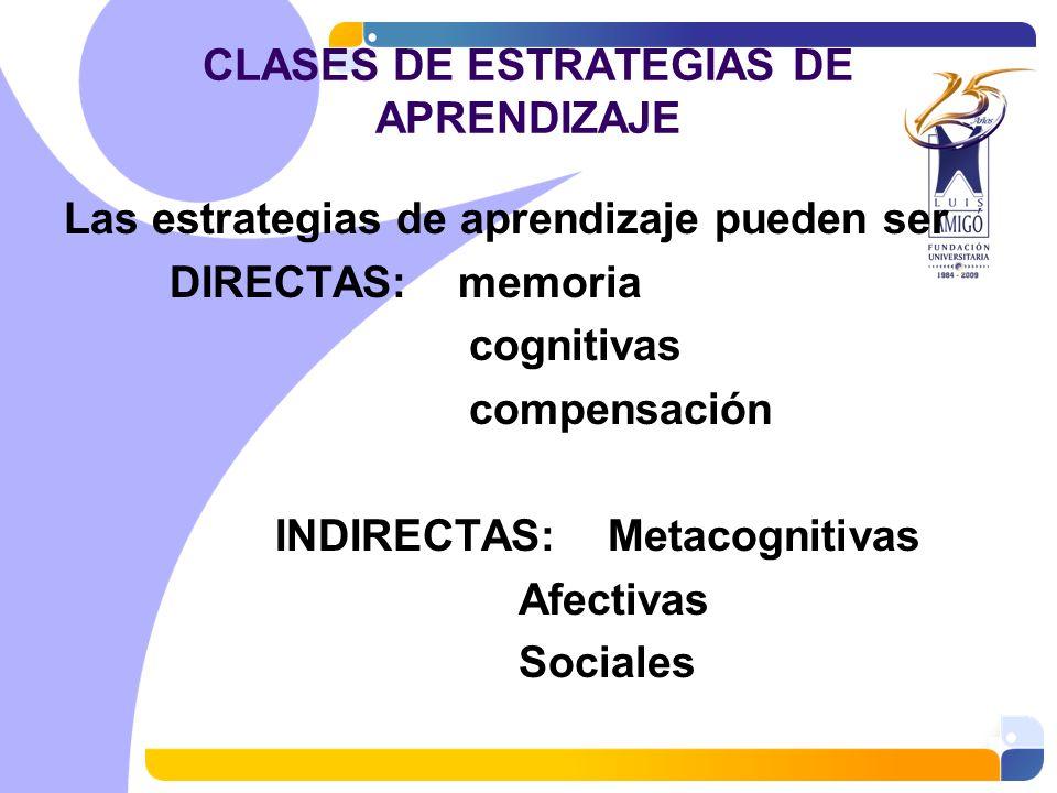 CLASES DE ESTRATEGIAS DE APRENDIZAJE Las estrategias de aprendizaje pueden ser DIRECTAS: memoria cognitivas compensación INDIRECTAS: Metacognitivas Af