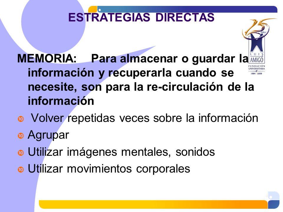 ESTRATEGIAS DIRECTAS MEMORIA: Para almacenar o guardar la información y recuperarla cuando se necesite, son para la re-circulación de la información V