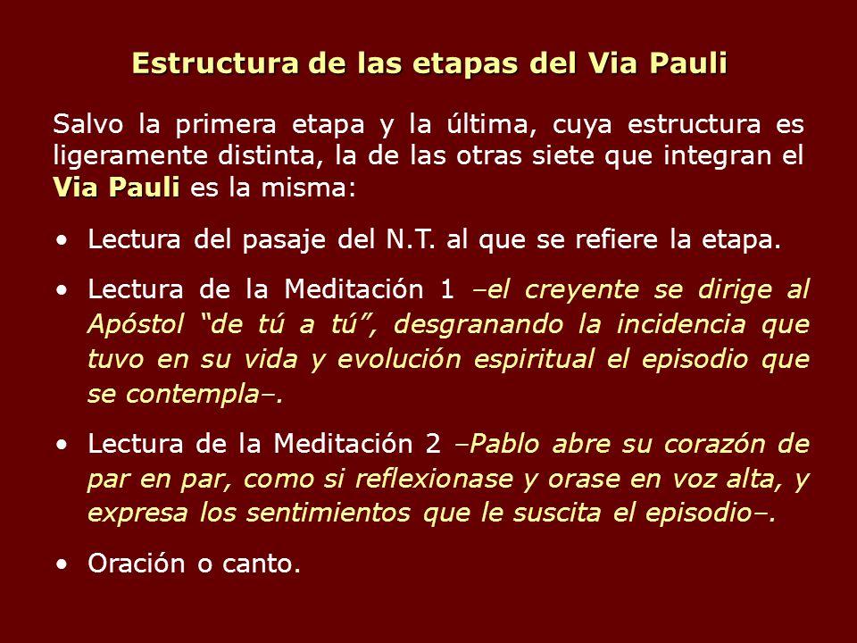 Estructura de las etapas del Via Pauli Lectura del pasaje del N.T. al que se refiere la etapa. Lectura de la Meditación 1 –el creyente se dirige al Ap