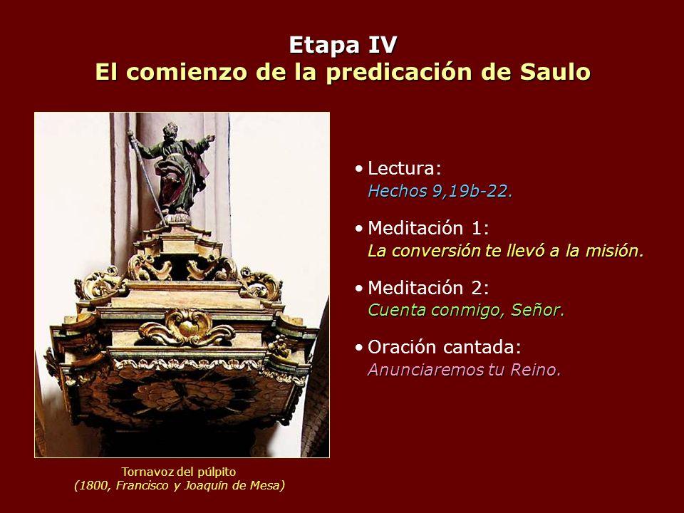 Etapa IV El comienzo de la predicación de Saulo Hechos 9,19b-22.Lectura: Hechos 9,19b-22. La conversión te llevó a la misión.Meditación 1: La conversi