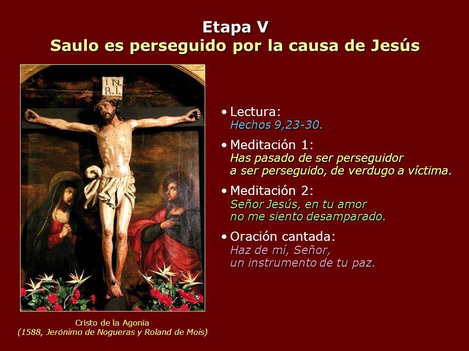 Etapa V Saulo es perseguido por la causa de Jesús Hechos 9,23-30.Lectura: Hechos 9,23-30. Has pasado de ser perseguidor a ser perseguido, de verdugo a