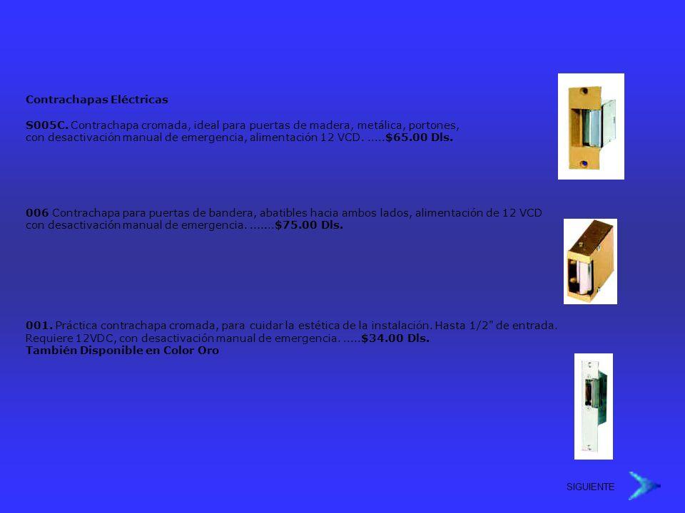 Contrachapas Eléctricas S005C. Contrachapa cromada, ideal para puertas de madera, metálica, portones, con desactivación manual de emergencia, alimenta