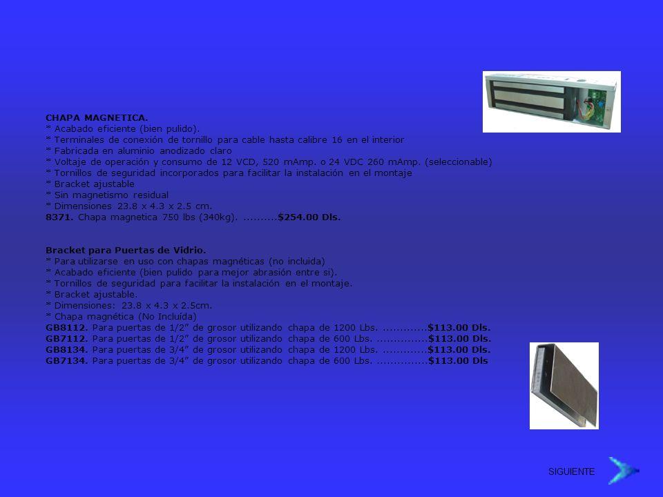 CHAPA MAGNETICA. * Acabado eficiente (bien pulido). * Terminales de conexión de tornillo para cable hasta calibre 16 en el interior * Fabricada en alu