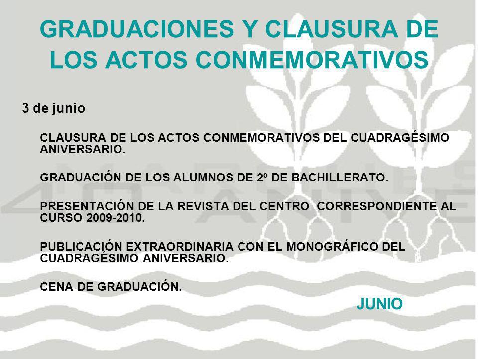 GRADUACIONES Y CLAUSURA DE LOS ACTOS CONMEMORATIVOS 3 de junio CLAUSURA DE LOS ACTOS CONMEMORATIVOS DEL CUADRAGÉSIMO ANIVERSARIO. GRADUACIÓN DE LOS AL
