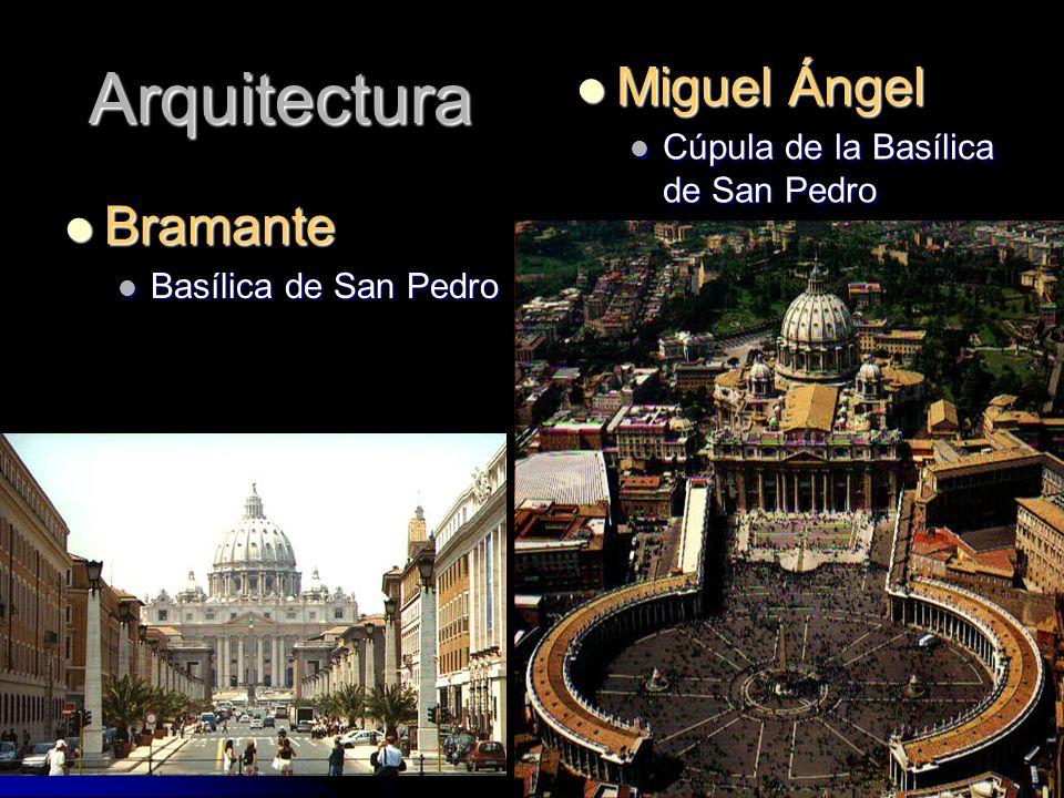Arquitectura Bramante Bramante Basílica de San Pedro Basílica de San Pedro Miguel Ángel Miguel Ángel Cúpula de la Basílica de San Pedro Cúpula de la B