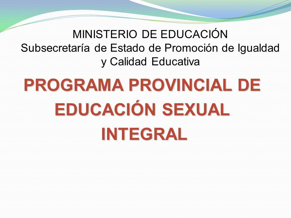 MINISTERIO DE EDUCACIÓN Subsecretaría de Estado de Promoción de Igualdad y Calidad Educativa PROGRAMA PROVINCIAL DE EDUCACIÓN SEXUAL INTEGRAL INTEGRAL