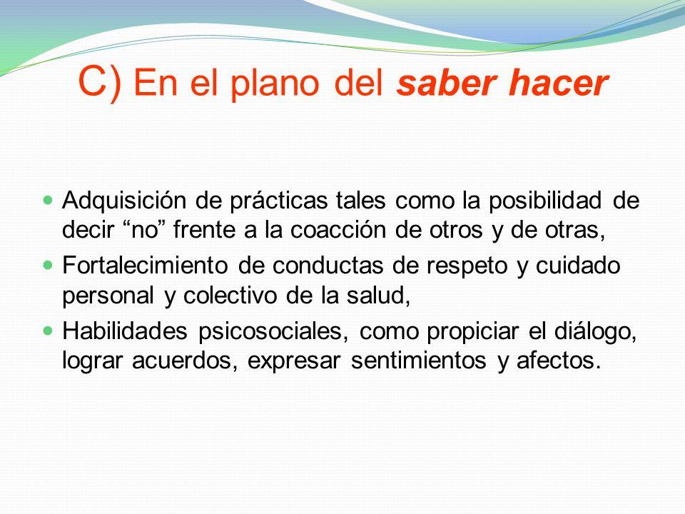 C) En el plano del saber hacer Adquisición de prácticas tales como la posibilidad de decir no frente a la coacción de otros y de otras, Fortalecimient