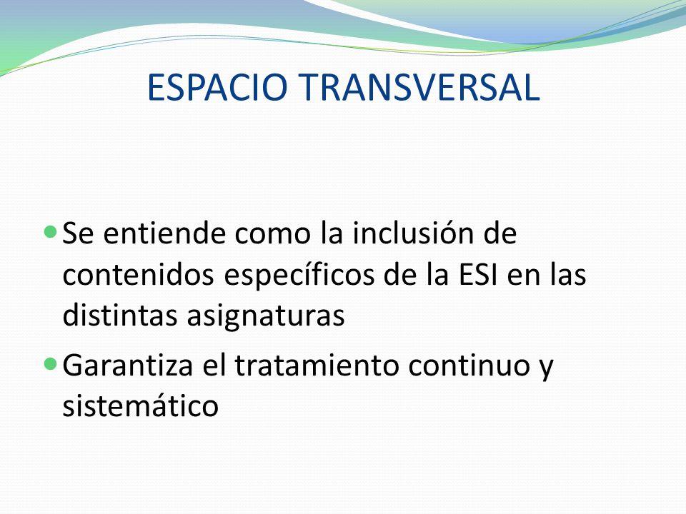 ESPACIO TRANSVERSAL Se entiende como la inclusión de contenidos específicos de la ESI en las distintas asignaturas Garantiza el tratamiento continuo y