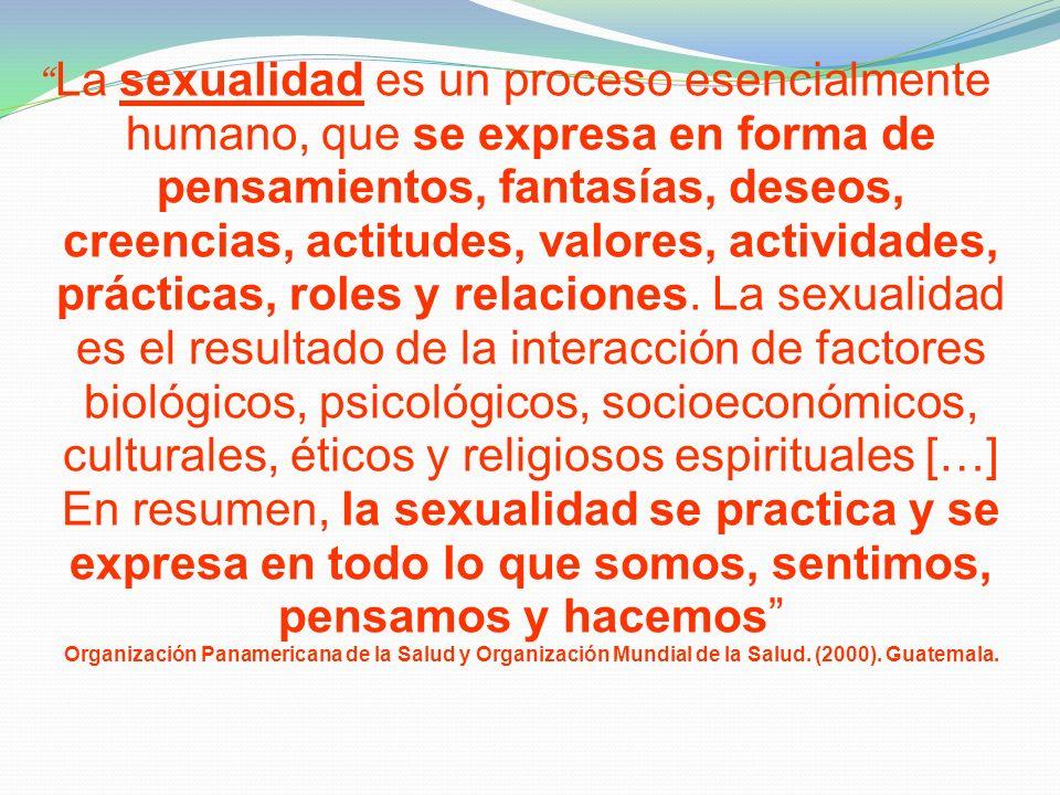 La sexualidad es un proceso esencialmente humano, que se expresa en forma de pensamientos, fantasías, deseos, creencias, actitudes, valores, actividad