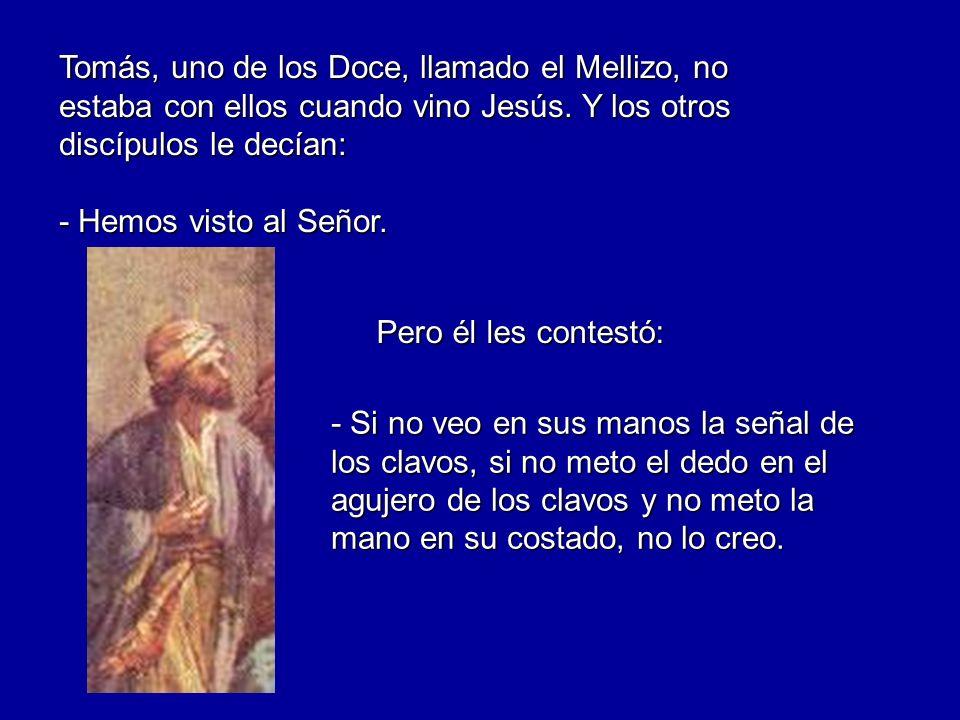 Tomás, uno de los Doce, llamado el Mellizo, no estaba con ellos cuando vino Jesús. Y los otros discípulos le decían: - Hemos visto al Señor. - Si no v