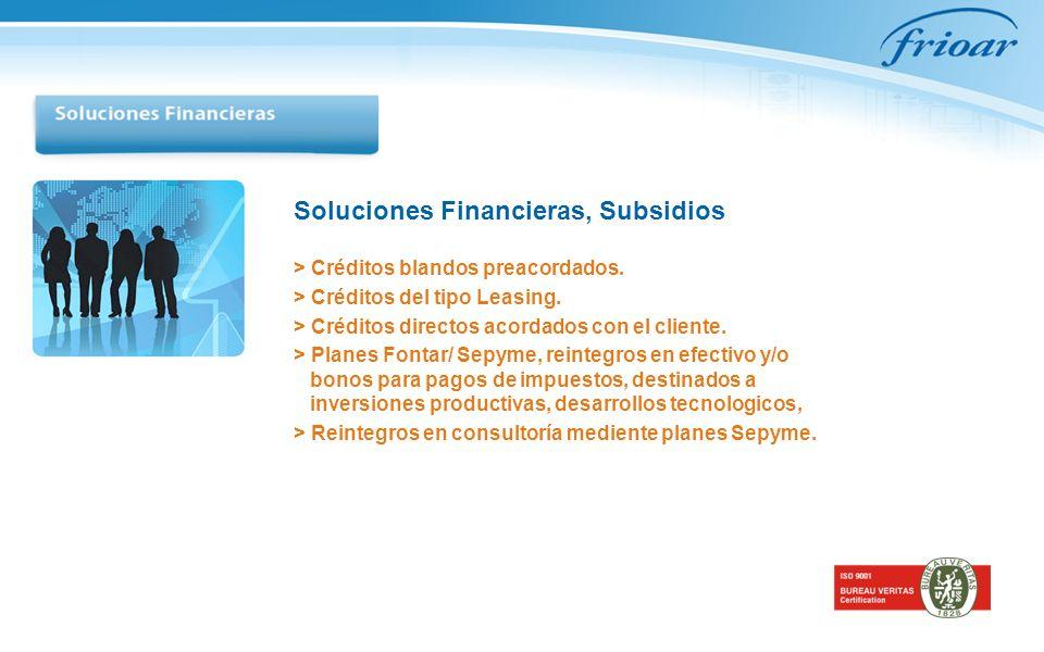 Soluciones Financieras, Subsidios > Créditos blandos preacordados.