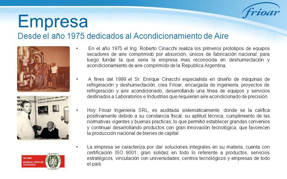 Empresa Desde el año 1975 dedicados al Acondicionamiento de Aire En el año 1975 el Ing. Roberto Cinacchi realiza los primeros prototipos de equipos se
