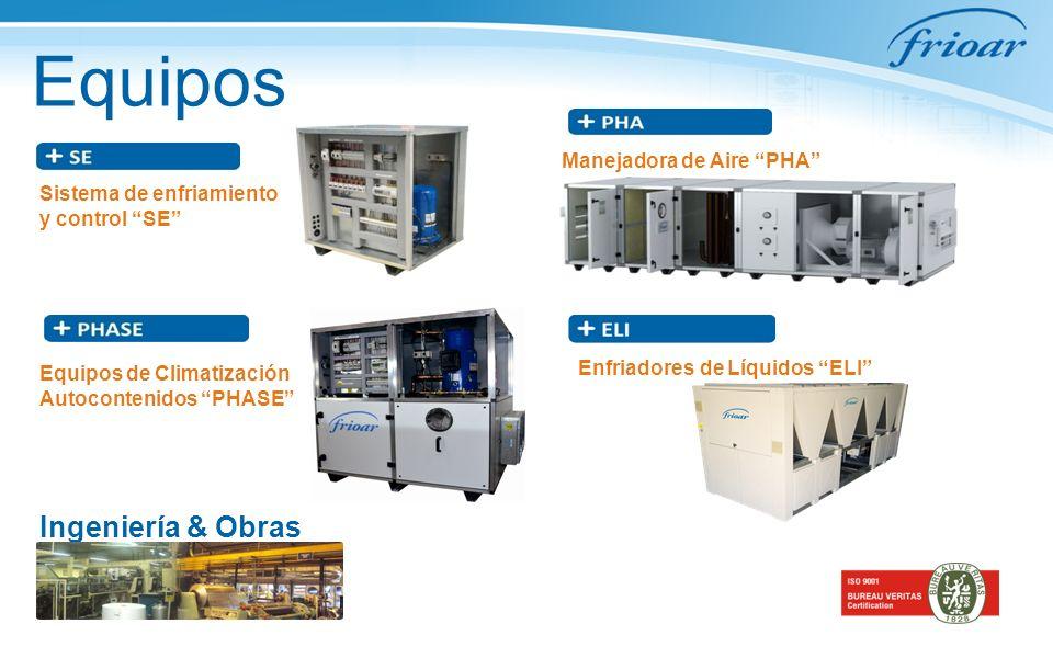 Equipos Sistema de enfriamiento y control SE Manejadora de Aire PHA Equipos de Climatización Autocontenidos PHASE Ingeniería & Obras Enfriadores de Líquidos ELI