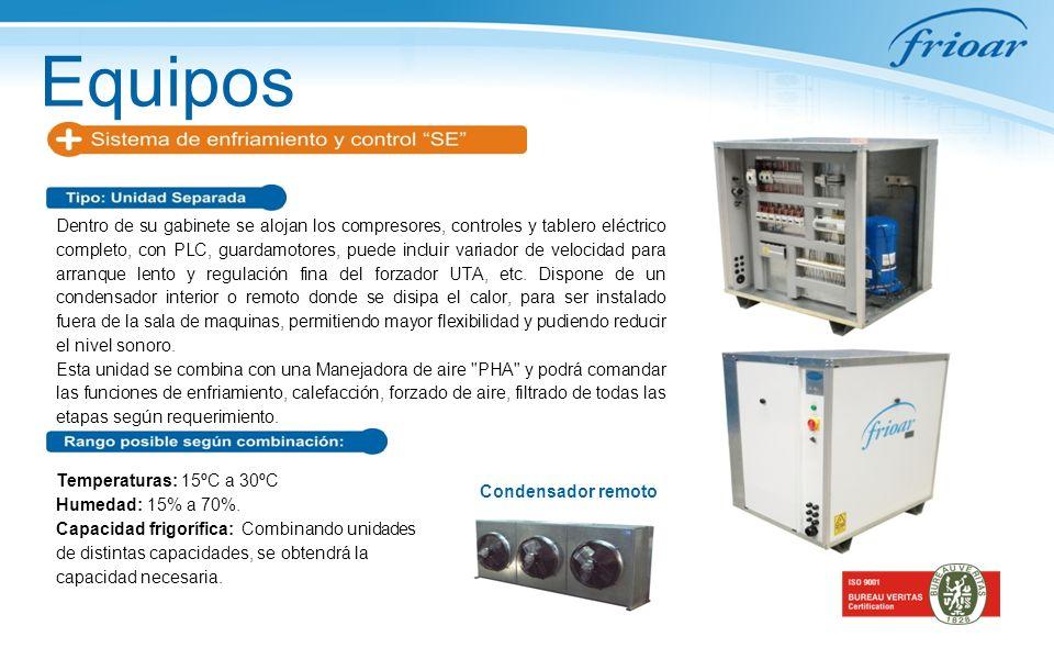 Equipos Dentro de su gabinete se alojan los compresores, controles y tablero eléctrico completo, con PLC, guardamotores, puede incluir variador de vel