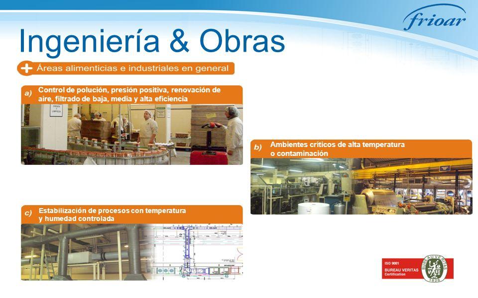 Ingeniería & Obras Control de polución, presión positiva, renovación de aire, filtrado de baja, media y alta eficiencia Ambientes críticos de alta tem