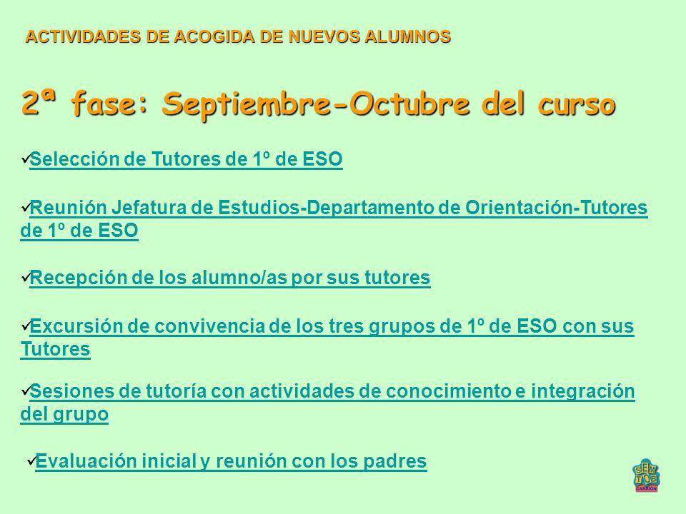 2ª fase: Septiembre-Octubre del curso Reunión Jefatura de Estudios-Departamento de Orientación-Tutores de 1º de ESO Reunión Jefatura de Estudios-Depar