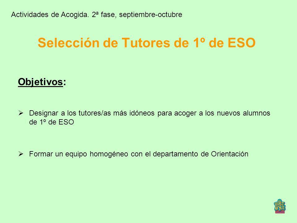 Selección de Tutores de 1º de ESO Objetivos: Designar a los tutores/as más idóneos para acoger a los nuevos alumnos de 1º de ESO Formar un equipo homo