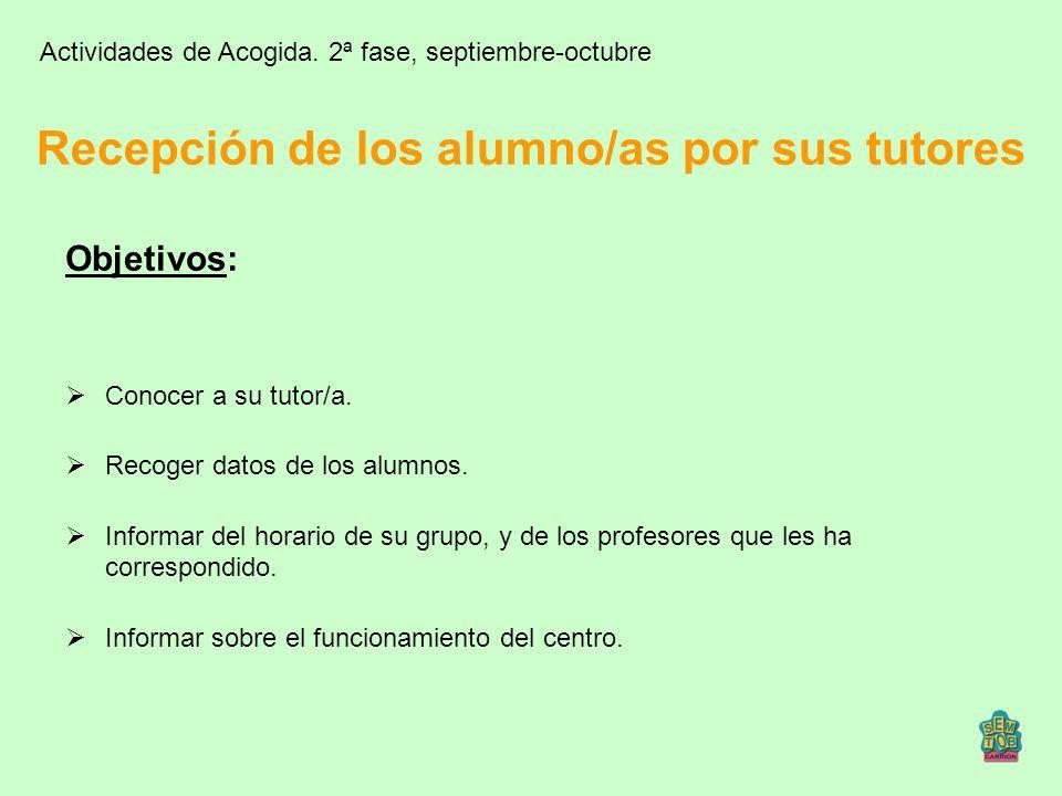 Recepción de los alumno/as por sus tutores Objetivos: Conocer a su tutor/a. Recoger datos de los alumnos. Informar del horario de su grupo, y de los p