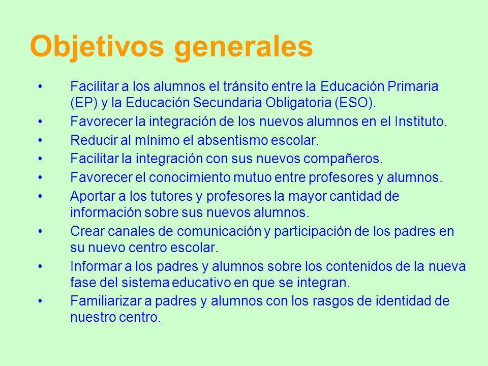 Objetivos generales Facilitar a los alumnos el tránsito entre la Educación Primaria (EP) y la Educación Secundaria Obligatoria (ESO). Favorecer la int