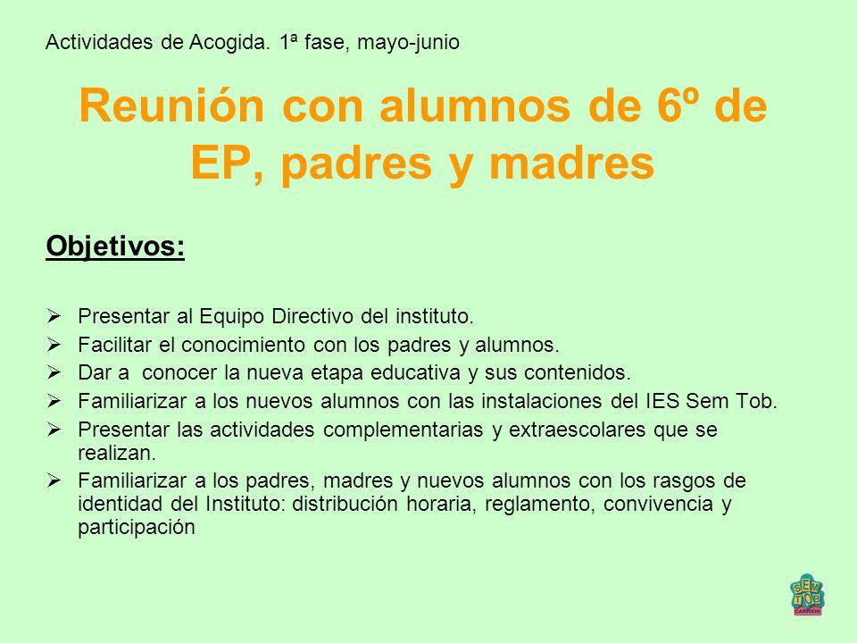 Reunión con Tutores de 6º de EP Actividades de Acogida.