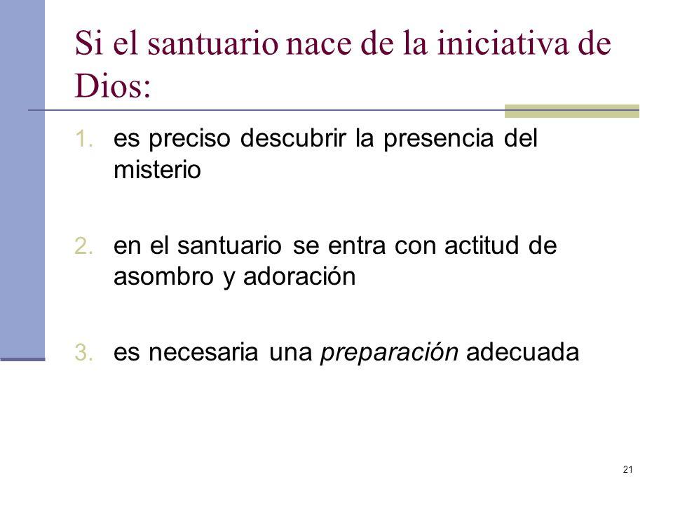 21 Si el santuario nace de la iniciativa de Dios: 1. es preciso descubrir la presencia del misterio 2. en el santuario se entra con actitud de asombro