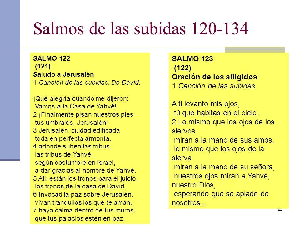 22 Salmos de las subidas 120-134 SALMO 122 (121) Saludo a Jerusalén 1 Canción de las subidas. De David. ¡Qué alegría cuando me dijeron: Vamos a la Cas
