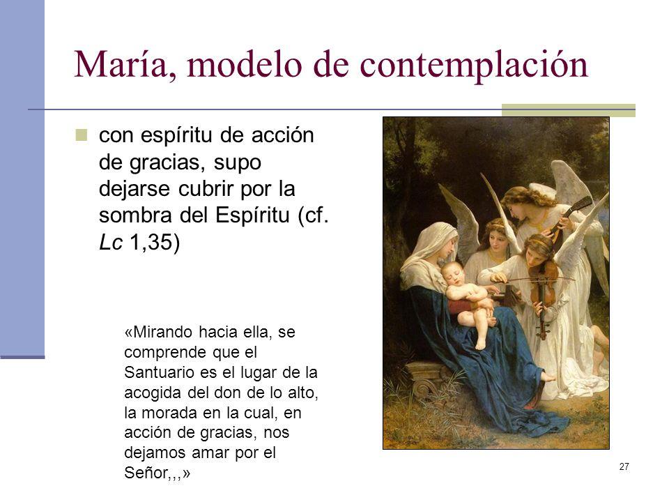 27 María, modelo de contemplación con espíritu de acción de gracias, supo dejarse cubrir por la sombra del Espíritu (cf. Lc 1,35) «Mirando hacia ella,
