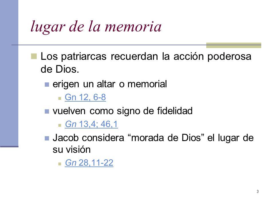 3 lugar de la memoria Los patriarcas recuerdan la acción poderosa de Dios. erigen un altar o memorial Gn 12, 6-8 vuelven como signo de fidelidad Gn 13