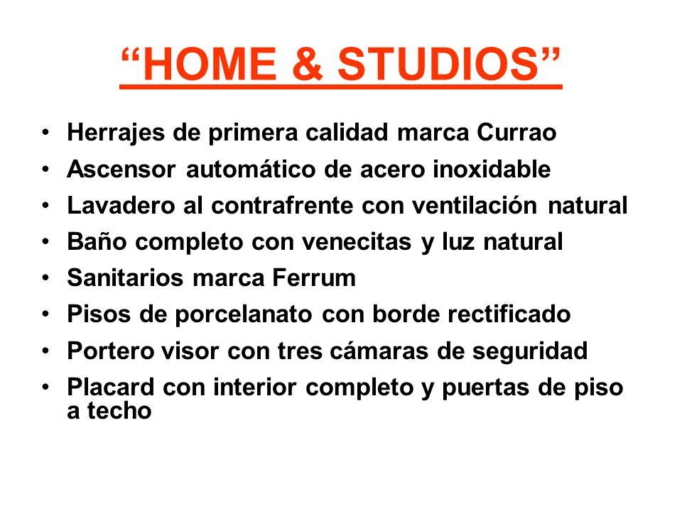 HOME & STUDIOS Herrajes de primera calidad marca Currao Ascensor automático de acero inoxidable Lavadero al contrafrente con ventilación natural Baño
