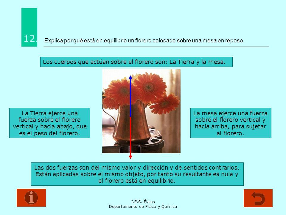 I.E.S. Élaios Departamento de Física y Química Explica por qué está en equilibrio un florero colocado sobre una mesa en reposo. 12. Los cuerpos que ac