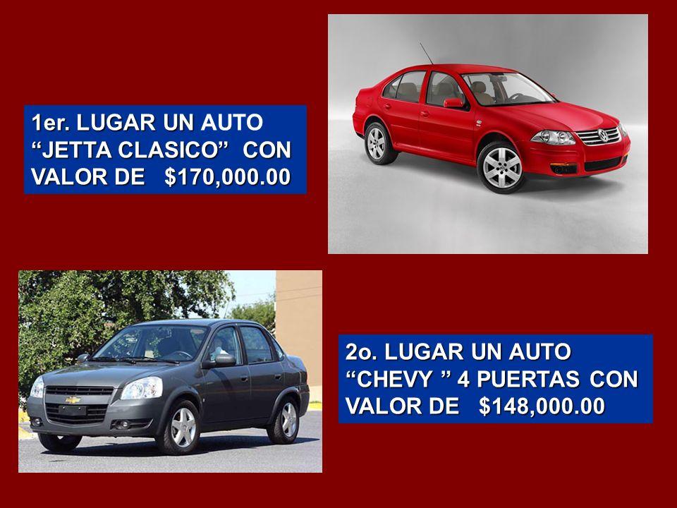 1er. LUGAR UN JETTA CLASICO CON VALOR DE $170,000.00 1er.