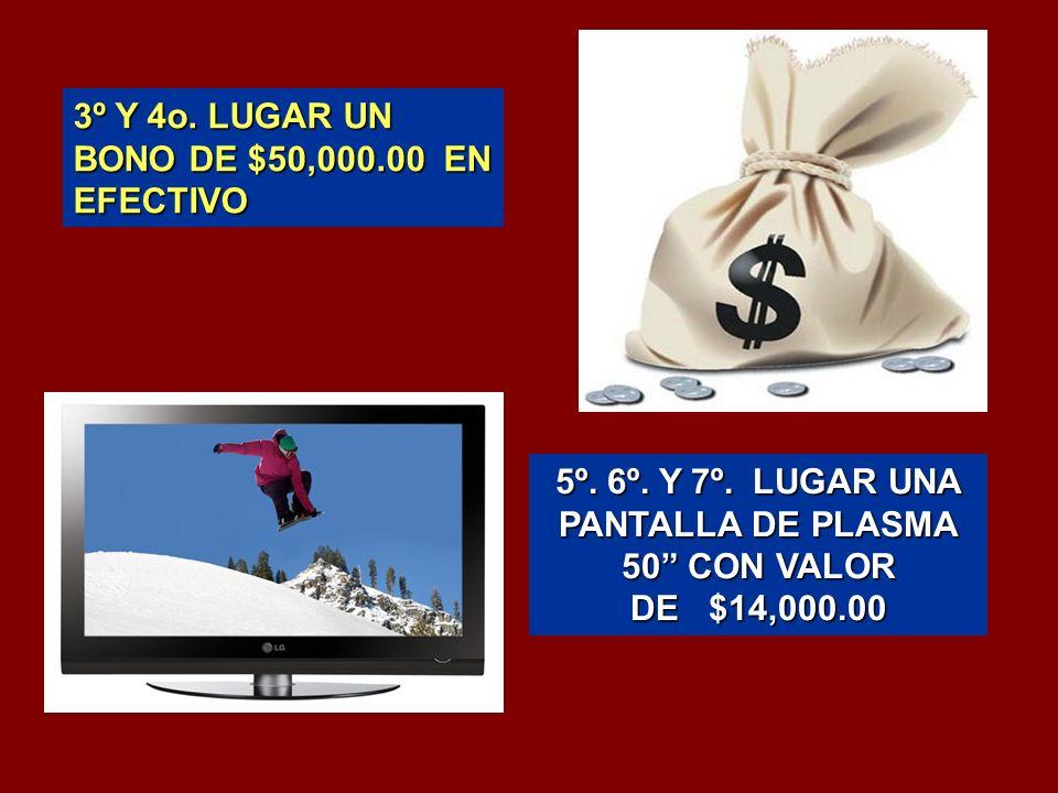 3º Y 4o. LUGAR UN BONO DE $50,000.00 EN EFECTIVO 5º.