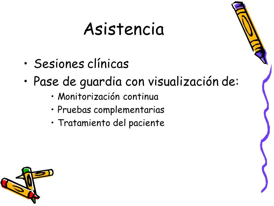 Asistencia Sesiones clínicas Pase de guardia con visualización de: Monitorización continua Pruebas complementarias Tratamiento del paciente