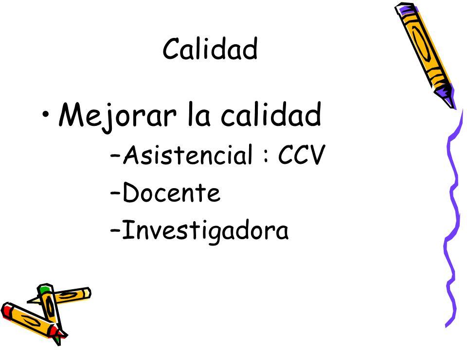 Calidad Mejorar la calidad –Asistencial : CCV –Docente –Investigadora