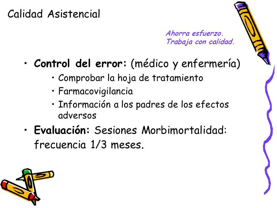 Control del error: (médico y enfermería) Comprobar la hoja de tratamiento Farmacovigilancia Información a los padres de los efectos adversos Evaluació