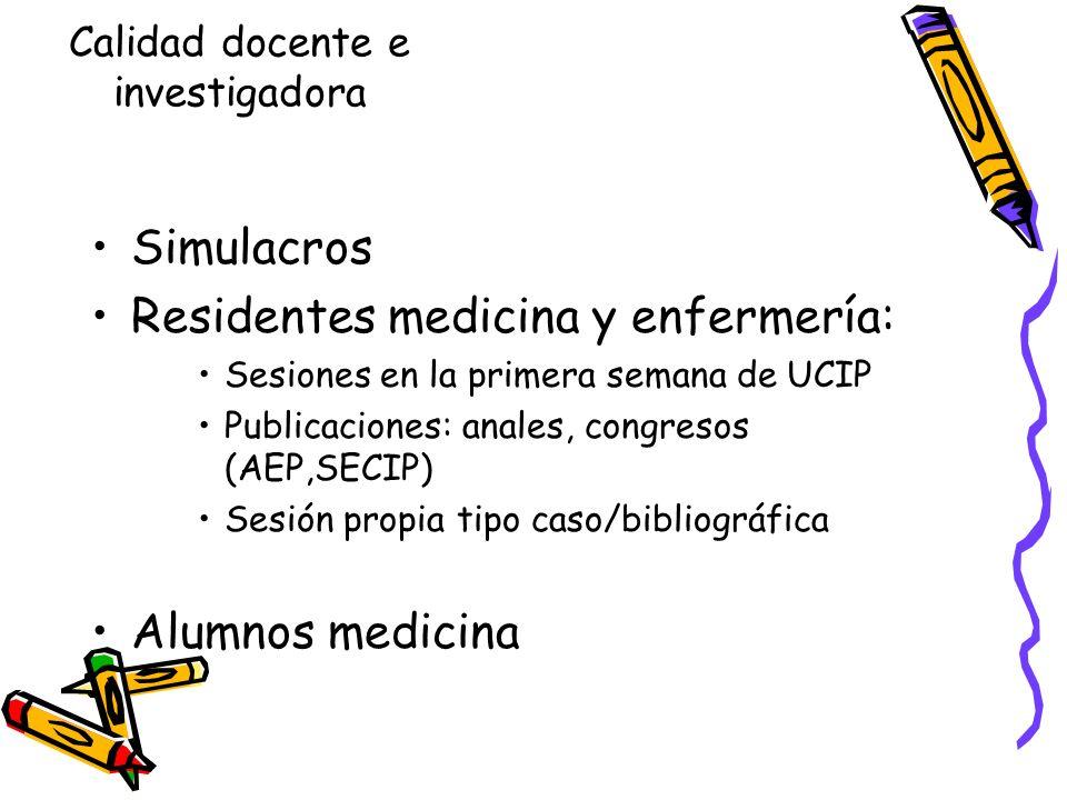 Simulacros Residentes medicina y enfermería: Sesiones en la primera semana de UCIP Publicaciones: anales, congresos (AEP,SECIP) Sesión propia tipo cas