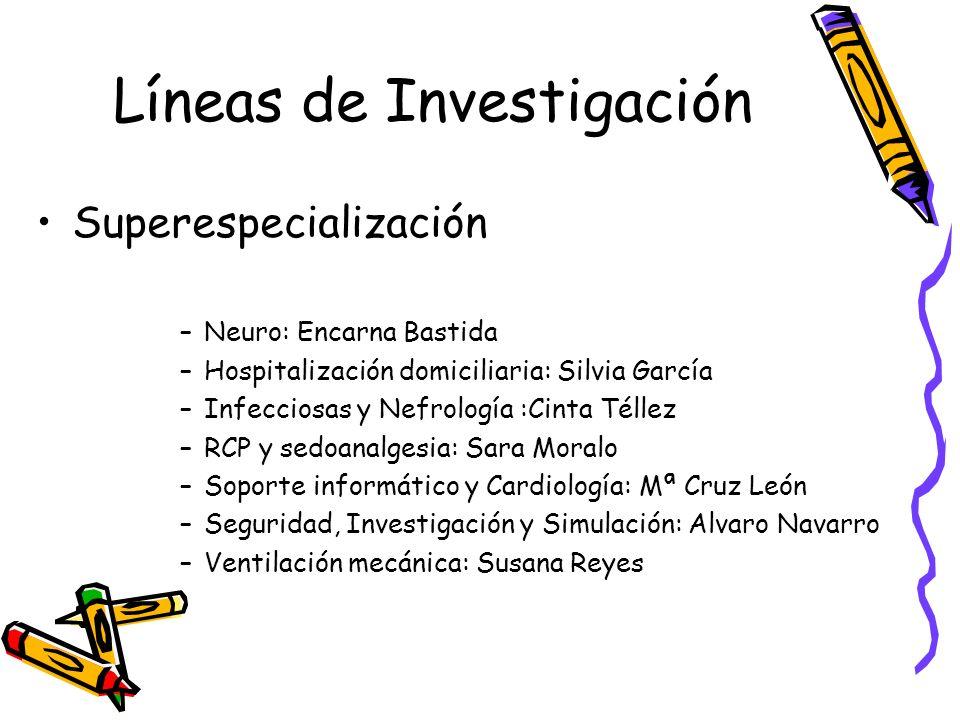 Líneas de Investigación Superespecialización –Neuro: Encarna Bastida –Hospitalización domiciliaria: Silvia García –Infecciosas y Nefrología :Cinta Tél