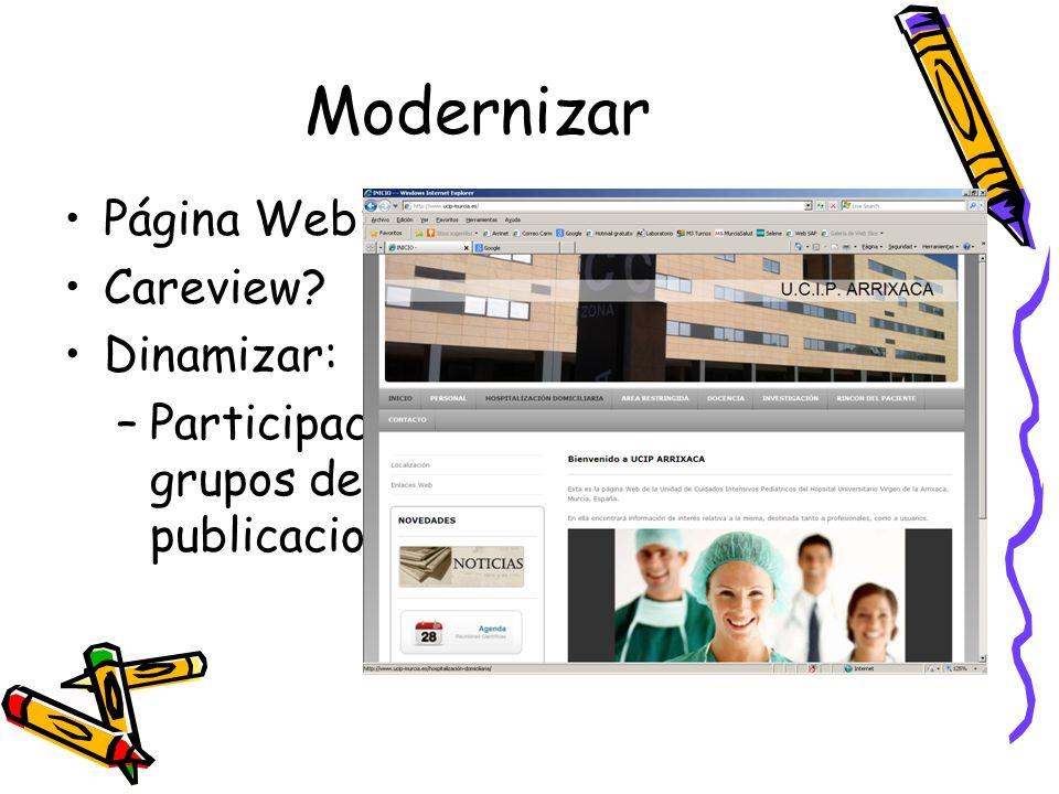 Modernizar Página Web: www.ucip-murcia.eswww.ucip-murcia.es Careview? Dinamizar: –Participación en congresos, ponencias, grupos de trabajo, estudios c