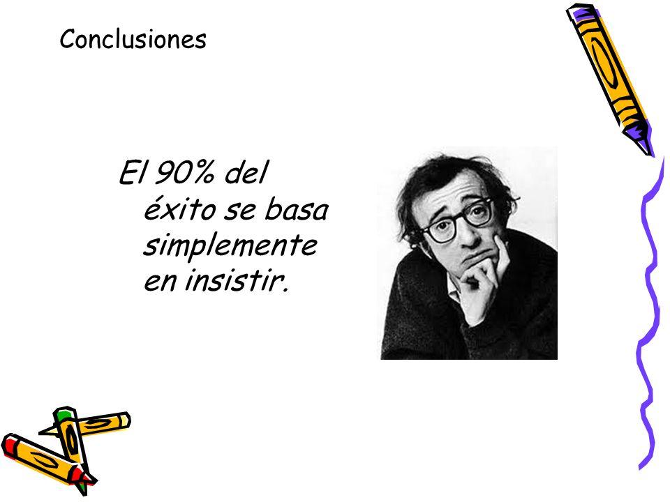 Conclusiones El 90% del éxito se basa simplemente en insistir.