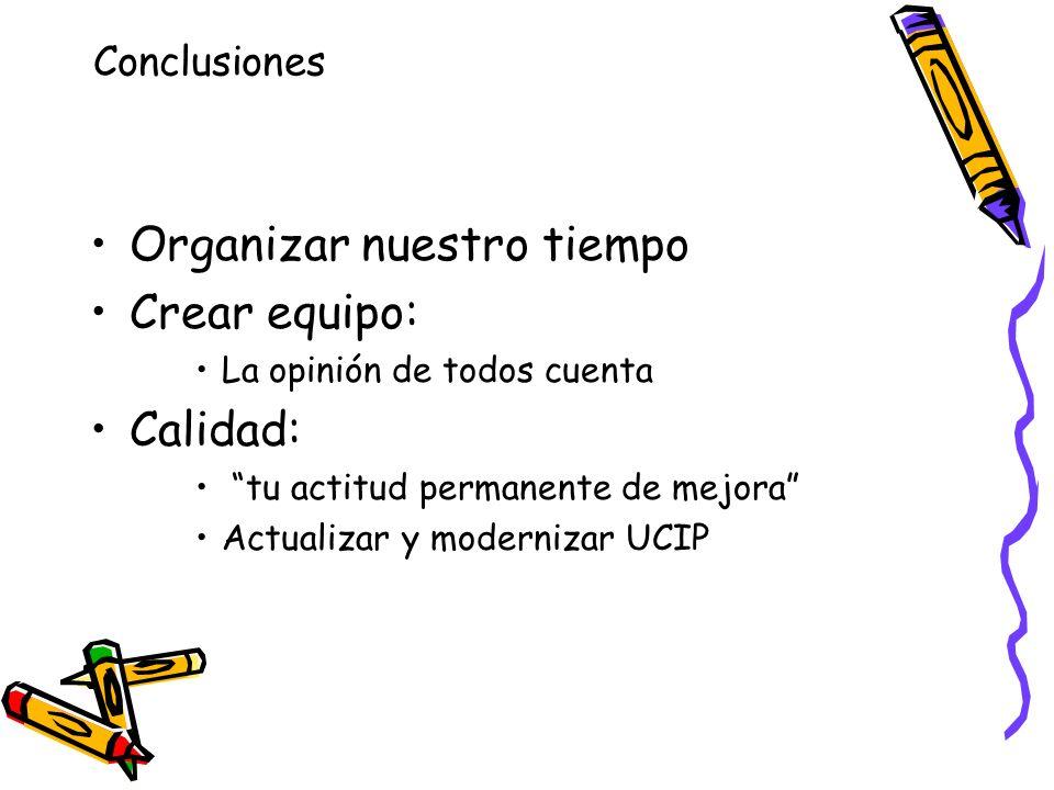 Organizar nuestro tiempo Crear equipo: La opinión de todos cuenta Calidad: tu actitud permanente de mejora Actualizar y modernizar UCIP Conclusiones