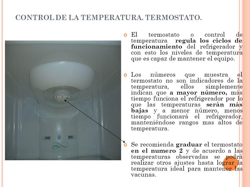 CONTROL DE LA TEMPERATURA. TERMOSTATO. El termostato o control de temperatura regula los ciclos de funcionamiento del refrigerador y con esto los nive