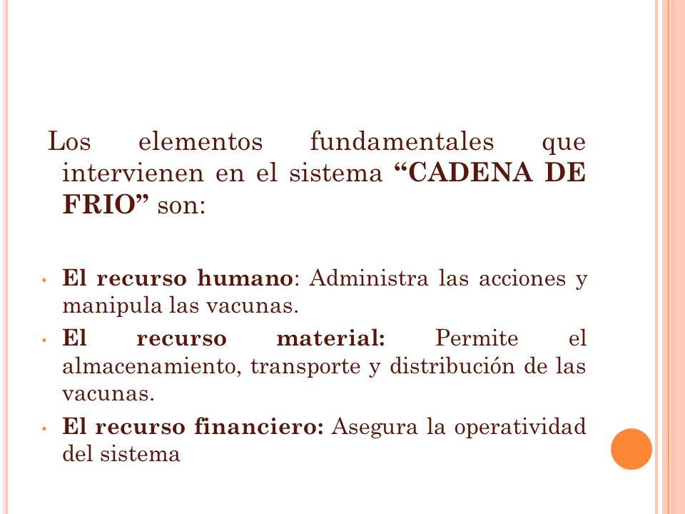 Los elementos fundamentales que intervienen en el sistema CADENA DE FRIO son: El recurso humano : Administra las acciones y manipula las vacunas. El r