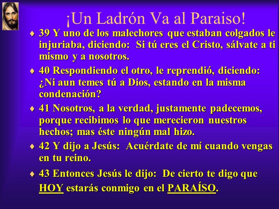 Jesús Salva un Ladrón! Ver Luc 23:33-43 33 Y cuando llegaron al lugar llamado de la Calavera, le crucificaron allí, y a los otros malechores, uno a la