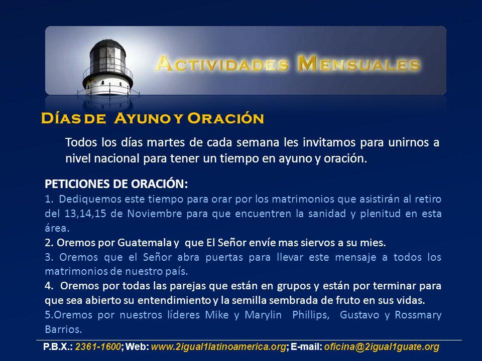 Días de Ayuno y Oración Todos los días martes de cada semana les invitamos para unirnos a nivel nacional para tener un tiempo en ayuno y oración.