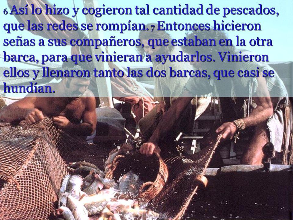 4 Cuando acabó de hablar, dijo a Simón: Lleva la barca mar adentro y echen sus redes para pescar. 5 Simón replicó: Maestro, hemos trabajado toda la no