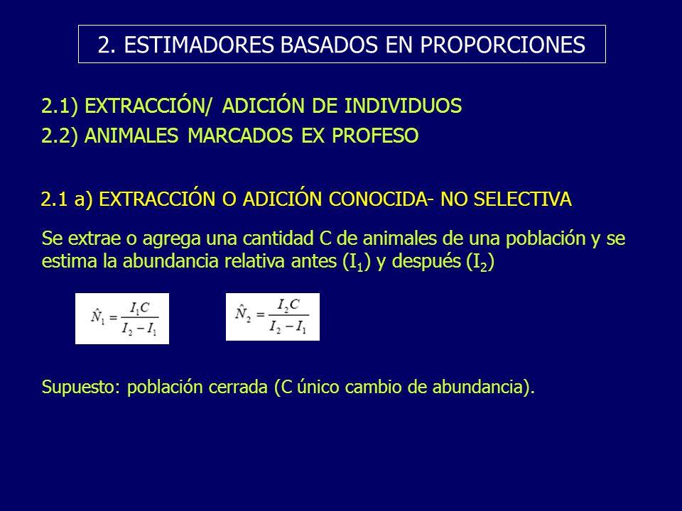 2. ESTIMADORES BASADOS EN PROPORCIONES 2.1) EXTRACCIÓN/ ADICIÓN DE INDIVIDUOS 2.2) ANIMALES MARCADOS EX PROFESO 2.1 a) EXTRACCIÓN O ADICIÓN CONOCIDA-