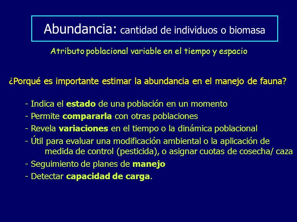 Abundancia: cantidad de individuos o biomasa Atributo poblacional variable en el tiempo y espacio - Indica el estado de una población en un momento -