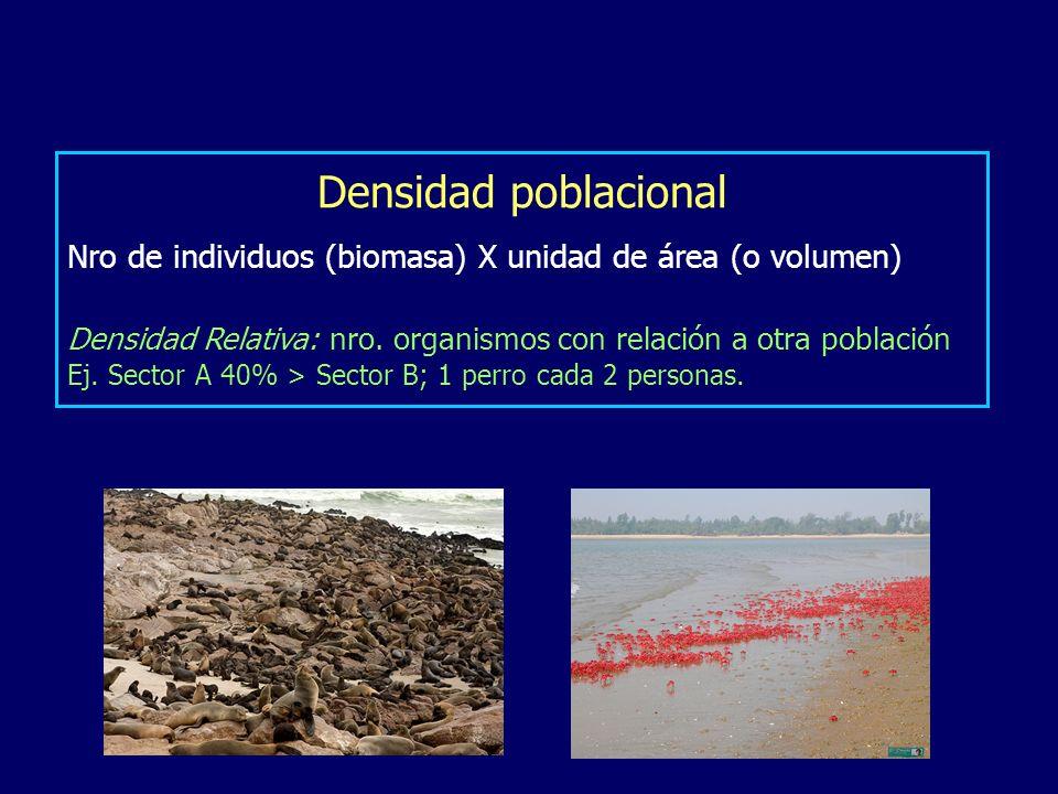 Densidad poblacional Nro de individuos (biomasa) X unidad de área (o volumen) Densidad Relativa: nro. organismos con relación a otra población Ej. Sec