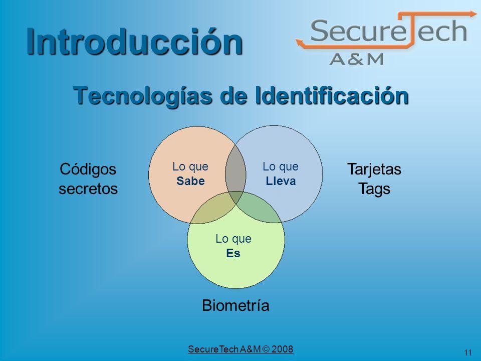 11 SecureTech A&M © 2008 Códigos secretos Tarjetas Tags Biometría Tecnologías de Identificación Lo que Sabe Lo que Lleva Lo que Es Introducción
