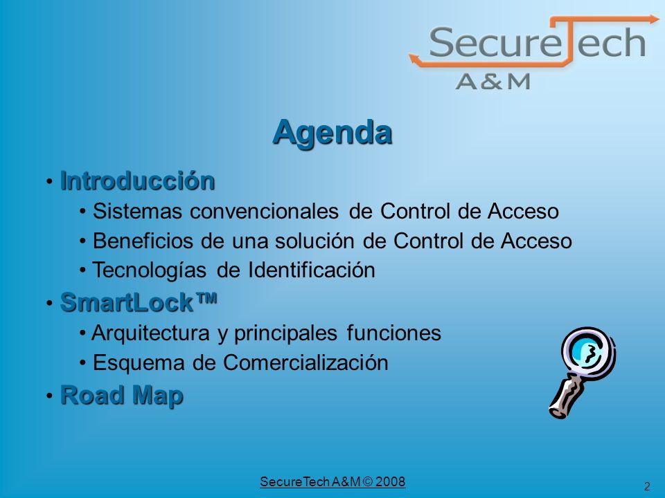 2 SecureTech A&M © 2008 Introducción Introducción Sistemas convencionales de Control de Acceso Beneficios de una solución de Control de Acceso Tecnolo